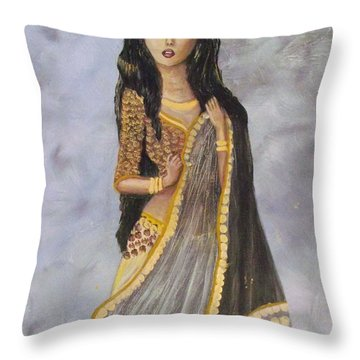 Throw Pillow featuring the painting Bathsheba  by Donna Dixon