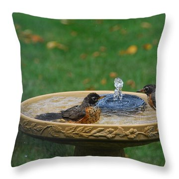 Bathtime In The Front Yard Throw Pillow