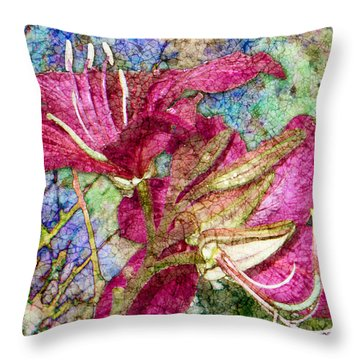 Batik Lilies Throw Pillow