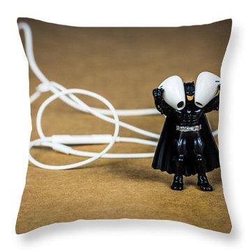 Batman Likes Music Too Throw Pillow