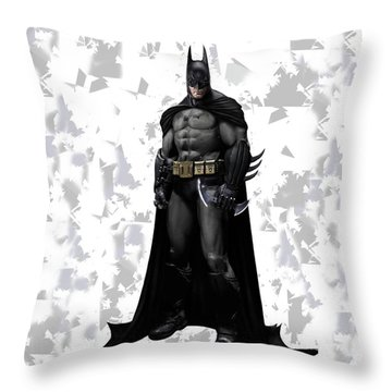 Throw Pillow featuring the mixed media Batman Splash Super Hero Series by Movie Poster Prints