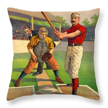 Batter Up 1895 Throw Pillow by Padre Art