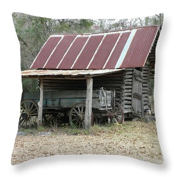 Battered Barn And Weathered Wagon Throw Pillow by Al Powell Photography USA