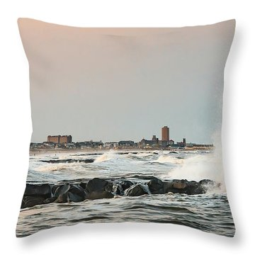 Battering The Shark River Inlet Throw Pillow by Gary Slawsky