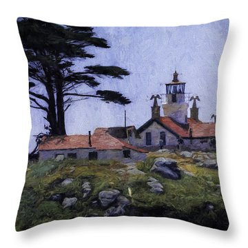 Battery Point Lighthouse Crescent City California Throw Pillow