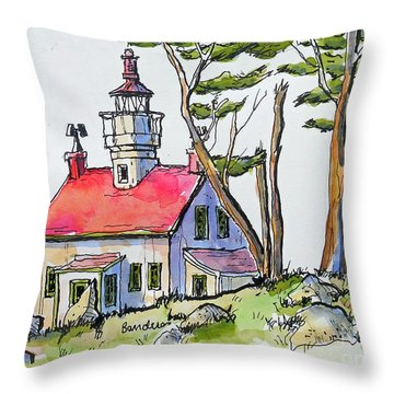 Throw Pillow featuring the painting Battery Point Lighthouse by Terry Banderas