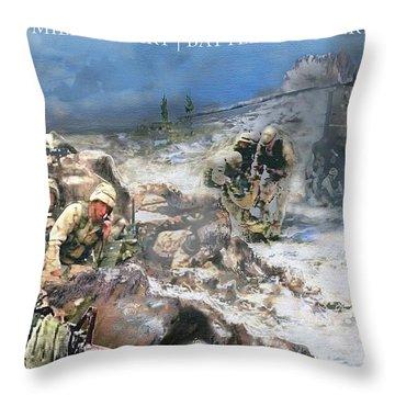 Battle At Roberts Ridge Throw Pillow by Todd Krasovetz
