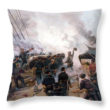 Battle Between Kearsarge And Alabama Throw Pillow