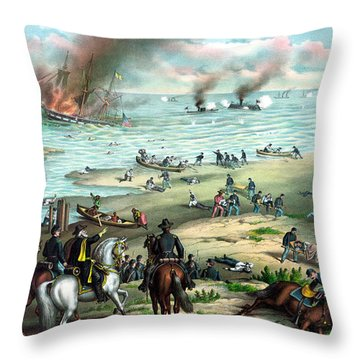 Battle Between The Monitor And Merrimac Throw Pillow