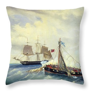 Battle Between The Russian Ship Opyt And A British Frigate Off The Coast Of Nargen Island  Throw Pillow by Leonid Demyanovich Blinov