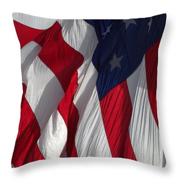 Battle Flag Flies Aboard Uss Cape St. George Throw Pillow
