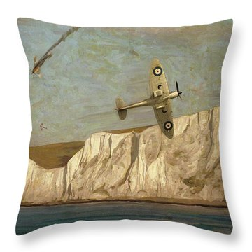 Battle Of Britain Over Dover Throw Pillow
