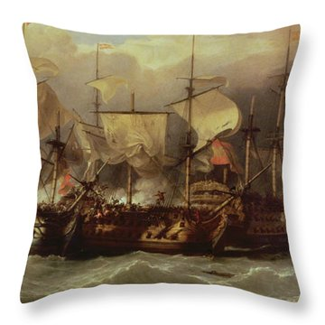 Battle Of Cape St Vincent Throw Pillow by Sir William Allan