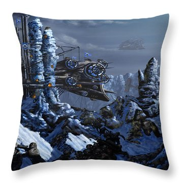Throw Pillow featuring the digital art Battle Of Eagle's Peak by Curtiss Shaffer