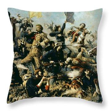Battle Of Little Bighorn Throw Pillow by Edgar Samuel Paxson
