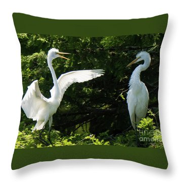 Battle Of The Egrets Throw Pillow