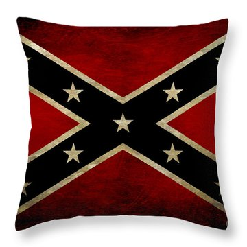 Battle Scarred Confederate Flag Throw Pillow
