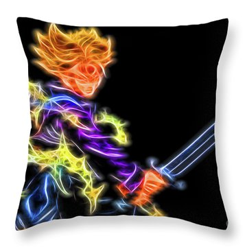 Throw Pillow featuring the digital art Battle Stance Trunks by Ray Shiu