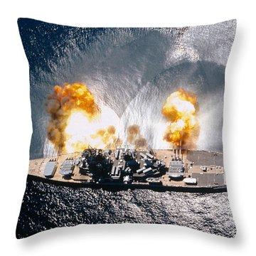 Battleship Iowa Firing All Guns Throw Pillow by Stocktrek Images