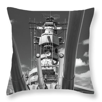 Throw Pillow featuring the photograph Battleship Missouri by Colleen Coccia