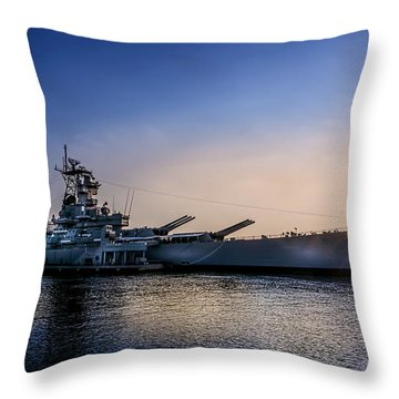 Throw Pillow featuring the photograph Battleship New Jersey by Marvin Spates