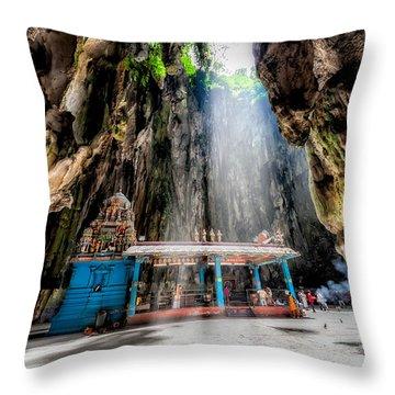 Batu Cave Sunlight Throw Pillow