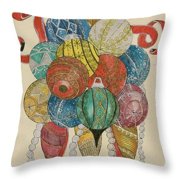 Throw Pillow featuring the painting Baubles by Eva Ason