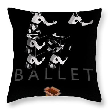 Bauhaus Ballet Black Throw Pillow by Charles Stuart