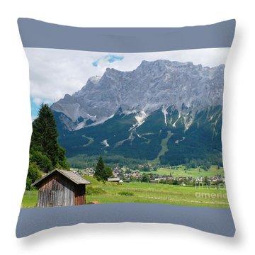 Bavarian Alps Landscape Throw Pillow by Carol Groenen