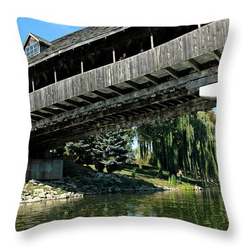 Throw Pillow featuring the photograph Bavarian Covered Bridge by LeeAnn McLaneGoetz McLaneGoetzStudioLLCcom