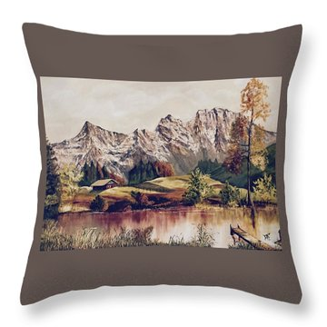 Bavarian Landscape Throw Pillow