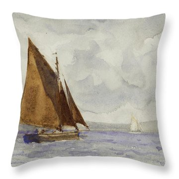 Throw Pillow featuring the painting Bawley Running Up The Coast by Henry Scott Tuke