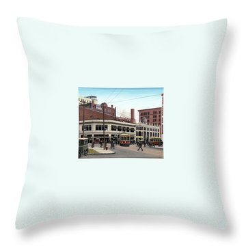 Throw Pillow featuring the painting Bay And Queen Streets C1940 by Kenneth M Kirsch
