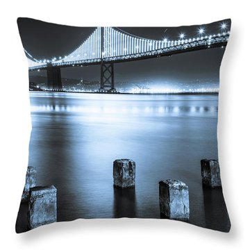 Bay Bridge 1 In Blue Throw Pillow