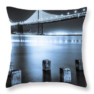 Bay Bridge 1 In Blue Throw Pillow