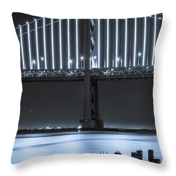Bay Bridge 2 In Blue Throw Pillow