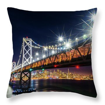 Bay Bridge And San Francisco By Night 5 Throw Pillow