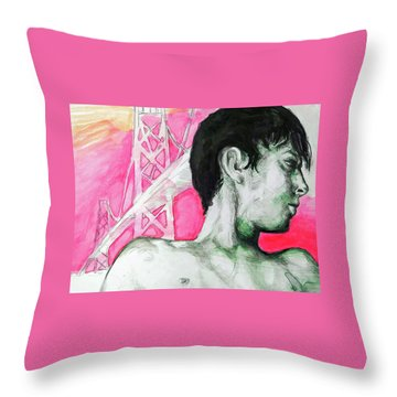 Throw Pillow featuring the painting Bay Bridge Anf Figure In Red by Rene Capone