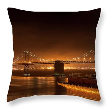 Bay Bridge At Night Throw Pillow