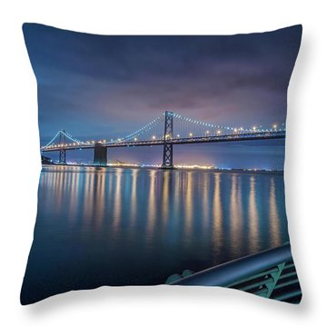 Bay Bridge Blues Throw Pillow