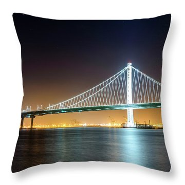 Bay Bridge East By Night 1 Throw Pillow