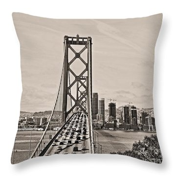 Bay Bridge From Above Throw Pillow