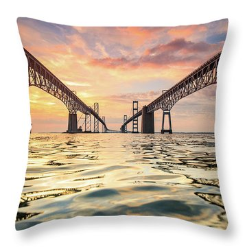 Bay Bridge Impression Throw Pillow by Jennifer Casey