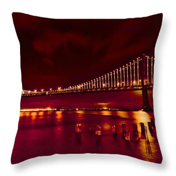 Bay Bridge Lights Throw Pillow