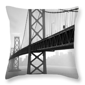 Bay Bridge San Francisco San Francisco - Black And White Throw Pillow