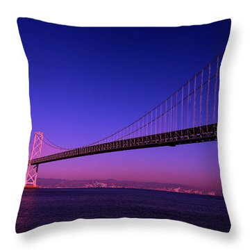 Bay Bridge Sunset Throw Pillow