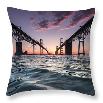 Bay Bridge Twilight Throw Pillow by Jennifer Casey