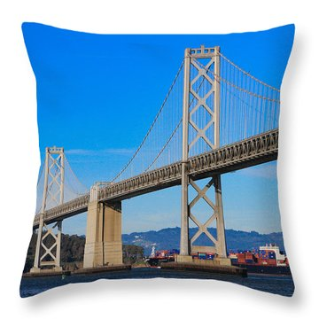 Bay Bridge With Apl Houston Throw Pillow