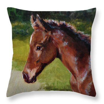 Bay Foal Throw Pillow