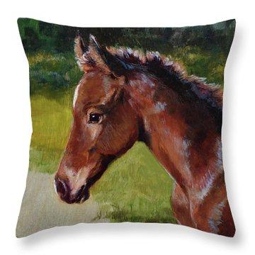 Bay Foal Throw Pillow